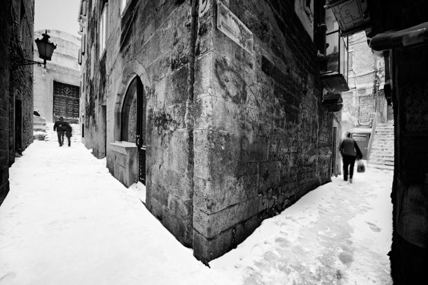 Η αρχαία πόλη του Σπλιτ (Κροατία) το Φεβρουάριο του 2012, κατά τη διάρκεια της βαρύτερης χιονόπτωσης στην ιστορία της.