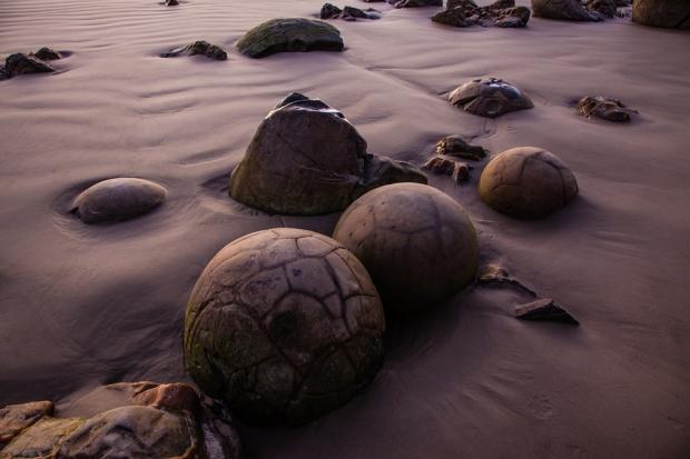 Οι Ογκόλιθοι Moeraki σκορπισμένοι σε όλη την παραλία Koekohe στα νότια της Νέας Ζηλανδίας . Το φως της ανατολής του ήλιου ρίχνει μια άλλη κοσμική απόχρωση σε αυτά τα πετρώματα.