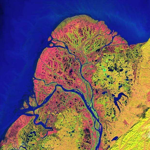 Το δέλτα του ποταμού Yukon στην Αλάσκα. Η εικόνα είναι από τις 22 Σεπτεμβρίου 2002
