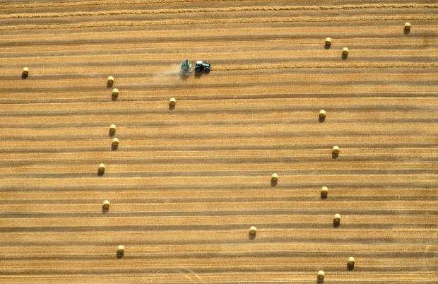 Τρακτέρ μαζεύει σανό σε χωράφι κοντά στο Hildesheim, Γερμανία