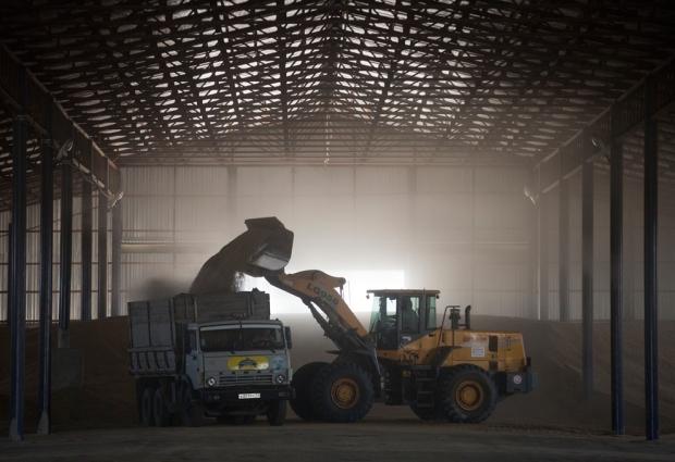 Φόρτωση σιταριού σε φορτηγό σε αποθήκη στο Κρασνοντάρ, Ρωσία